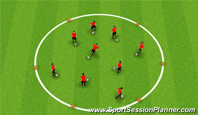 Football/Soccer Session Plan Drill (Colour): Football Island into King of the Ring