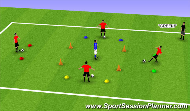 Football/Soccer Session Plan Drill (Colour): Coloured Cone Reaction