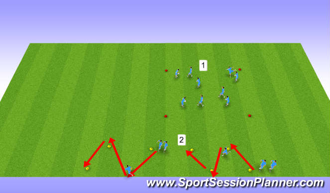 Football/Soccer Session Plan Drill (Colour): U13s/U14s, Week 28, Session 1, Multi-Directional Speed
