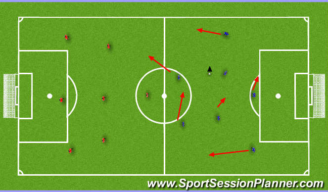 Football/Soccer Session Plan Drill (Colour): 5v5 game four goal