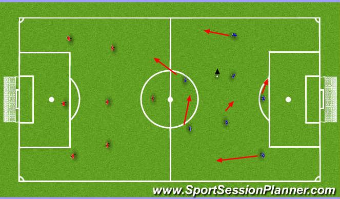 Football/Soccer Session Plan Drill (Colour): 5v5 game four goal