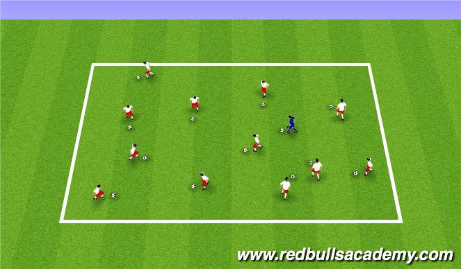 Football/Soccer Session Plan Drill (Colour): Yellow light vs Green light