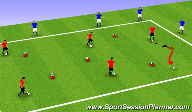 Football/Soccer Session Plan Drill (Colour): Turrots