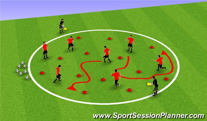 Football/Soccer Session Plan Drill (Colour): Volcano - Warm Up