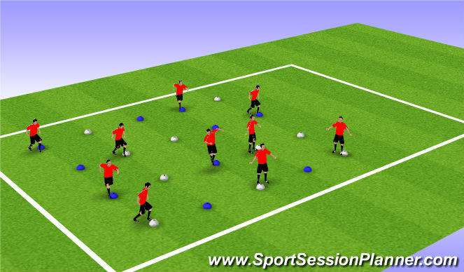 Football/Soccer Session Plan Drill (Colour): Two coloured cone warm up