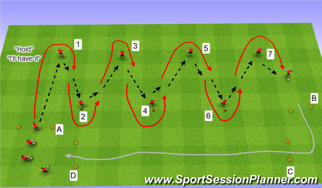 Football/Soccer Session Plan Drill (Colour): Pass & Hold/ Chain Pass