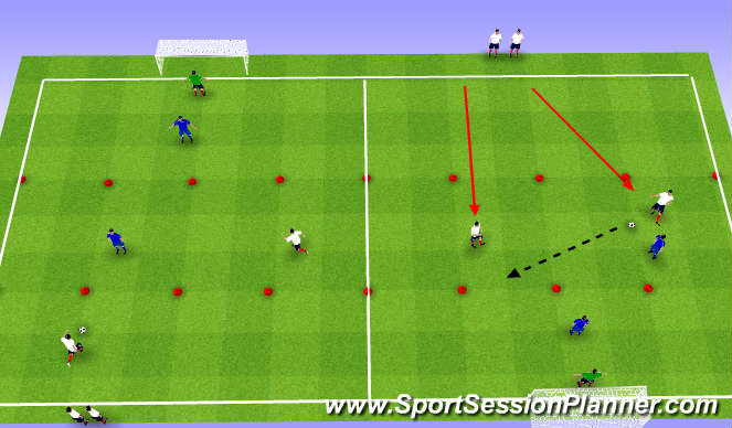 Football/Soccer Session Plan Drill (Colour): 2v2 combine to score circuit