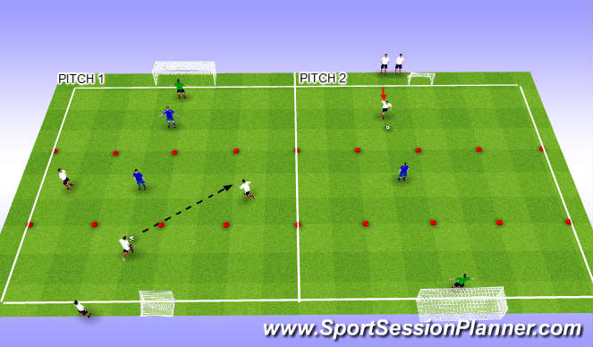 Football/Soccer Session Plan Drill (Colour): Varied overload circuit.