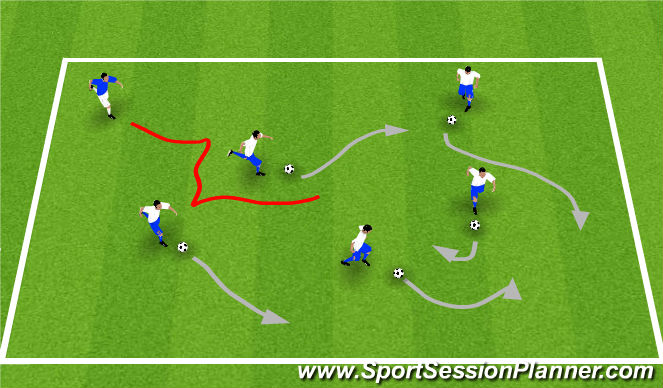 Football/Soccer Session Plan Drill (Colour): Shark Attack - 10 Minutes