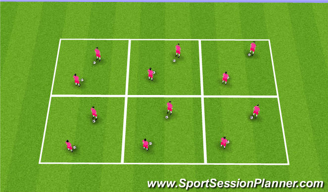 Football/Soccer Session Plan Drill (Colour): Ball Masters - Warm up