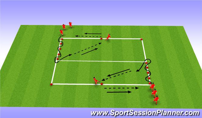 Football/Soccer Session Plan Drill (Colour): Dribbling to Pass