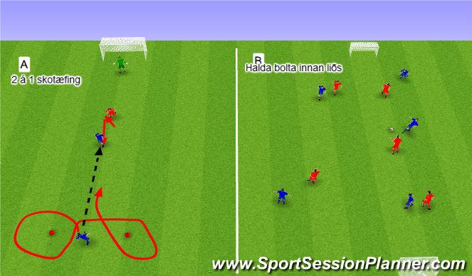 Football/Soccer Session Plan Drill (Colour): 3. Leikrænþjálfun (3x10 mín).