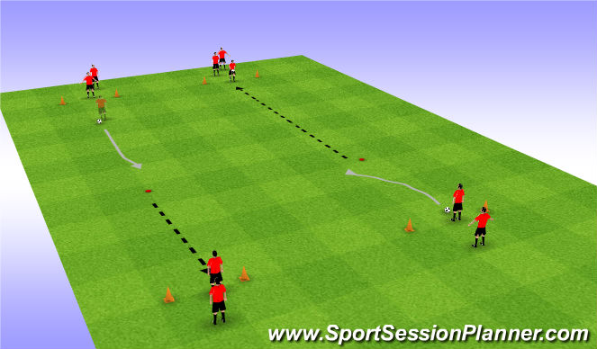 Football/Soccer Session Plan Drill (Colour): Passing and dribbling drill in lines