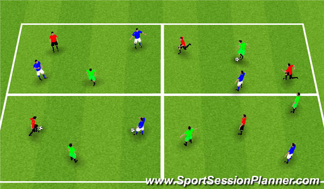 Football/Soccer Session Plan Drill (Colour): Three Colour Team Passing & Movement