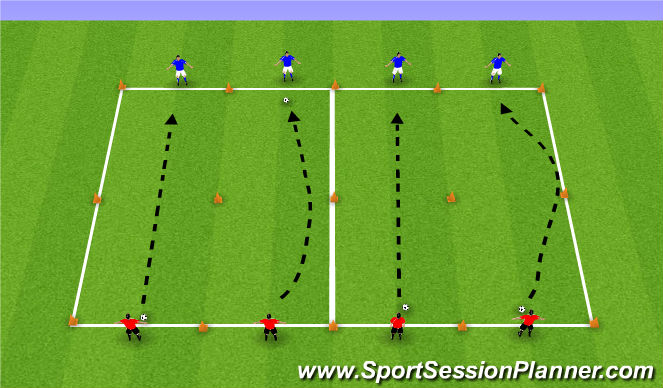 Football/Soccer Session Plan Drill (Colour): Long Passing Drill