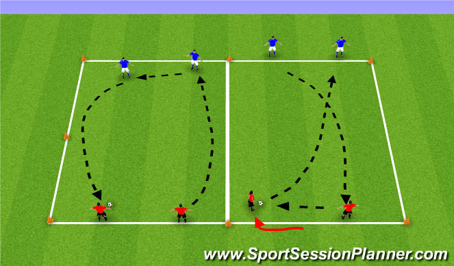 Football/Soccer Session Plan Drill (Colour): Long Passing Drill - in 2's
