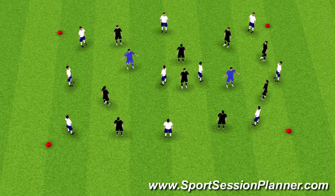 Football/Soccer Session Plan Drill (Colour): 9v9 +2