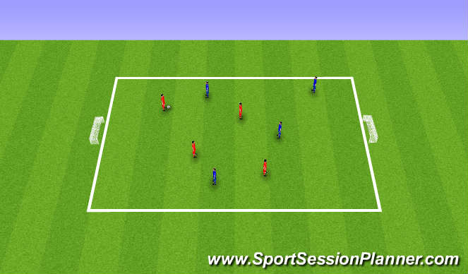 Football/Soccer Session Plan Drill (Colour): 4 v 4 The Basic Game