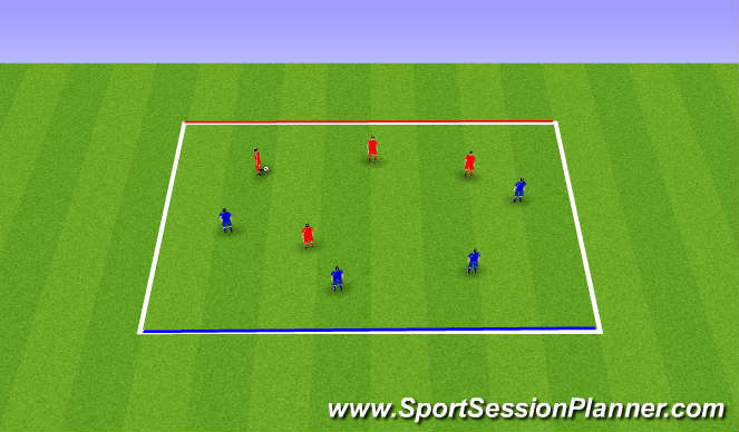 Football/Soccer Session Plan Drill (Colour): 4 v 4 Line Soccer