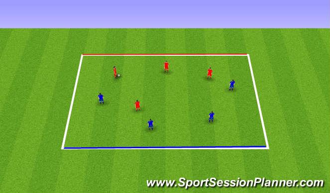 Football/Soccer Session Plan Drill (Colour): 4 v 4 Line Soccer