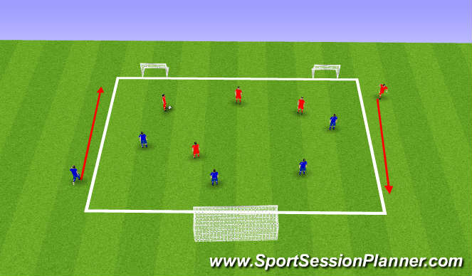Football/Soccer Session Plan Drill (Colour): 4 v 4 Transitions