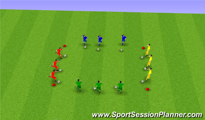 Football/Soccer Session Plan Drill (Colour): Ball mastery and dribbling