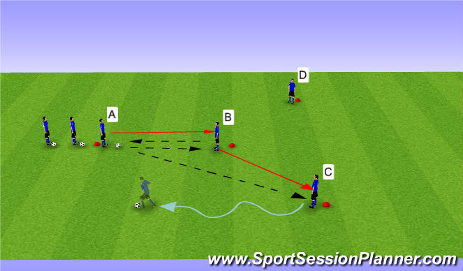 Football/Soccer Session Plan Drill (Colour): Y Passing Phase II