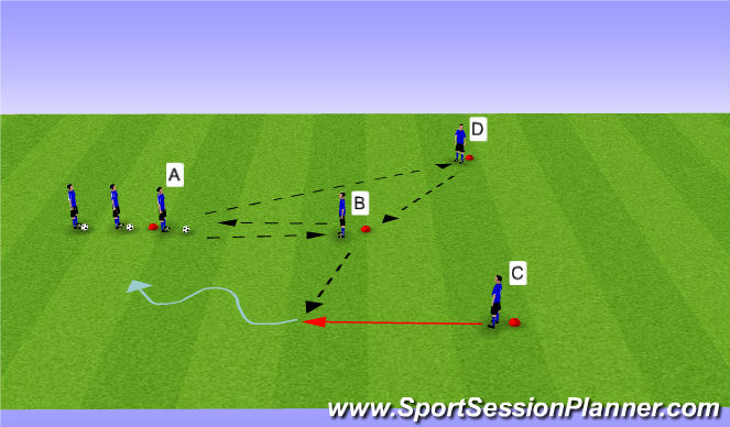 Football/Soccer Session Plan Drill (Colour): Y Passing Phase IV