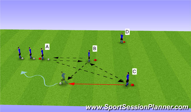 Football/Soccer Session Plan Drill (Colour): Y Passing Phase III