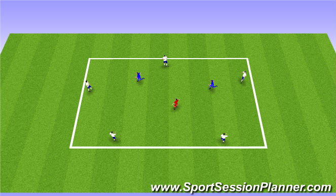 Football/Soccer Session Plan Drill (Colour): 5v2+1