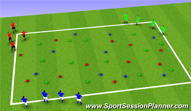 Football/Soccer Session Plan Drill (Colour): Space ships