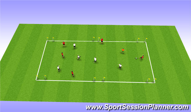 Football/Soccer Session Plan Drill (Colour): Three goal game