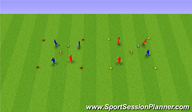 Football/Soccer Session Plan Drill (Colour): 3v1 ball off the cone