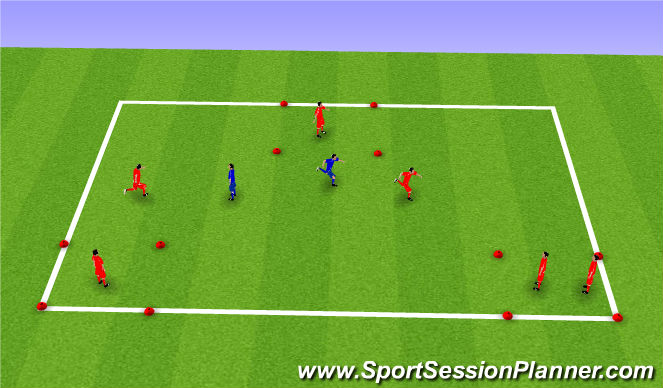 Football/Soccer Session Plan Drill (Colour): Tag - safe zones