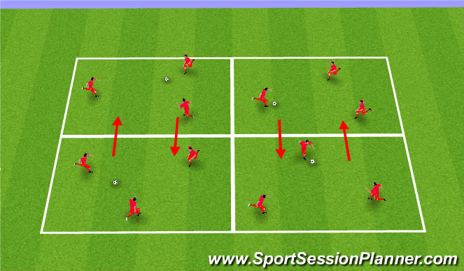 Football/Soccer Session Plan Drill (Colour): Passing Opposed Practice