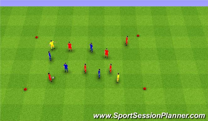 Football/Soccer Session Plan Drill (Colour): (6v4)+2.