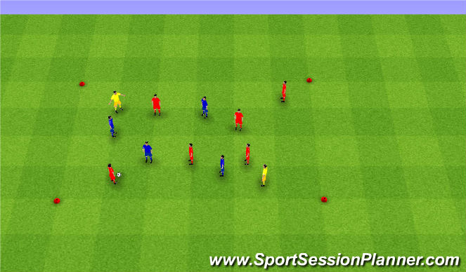 Football/Soccer Session Plan Drill (Colour): (6v4)+2.