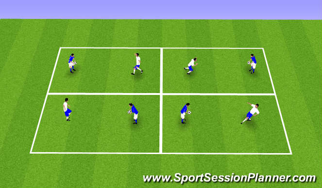 Football/Soccer Session Plan Drill (Colour): 1v1 Proprioception