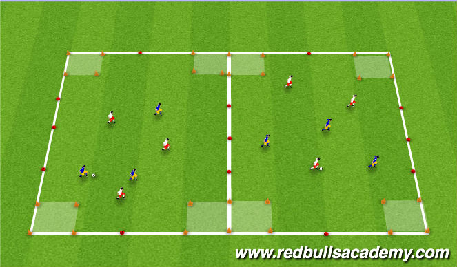 Football/Soccer Session Plan Drill (Colour): 3v3 Sheilding