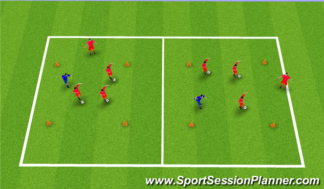 Football/Soccer Session Plan Drill (Colour): Shielding Opposed Practice