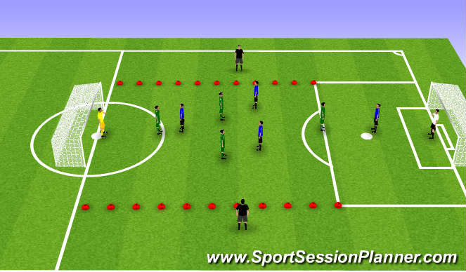 Football/Soccer Session Plan Drill (Colour): 5v5 with 2 wide neutrals