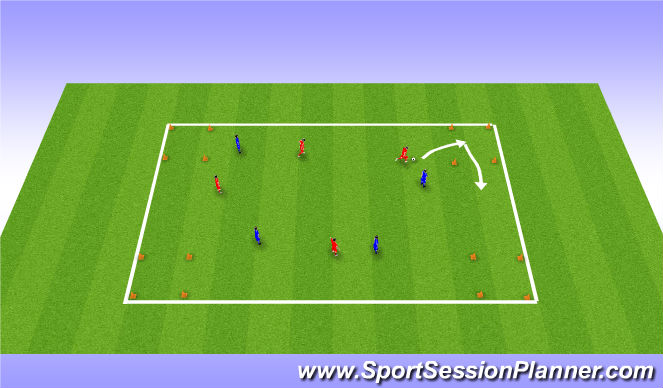 Football/Soccer Session Plan Drill (Colour): Recognising when / where to dribble and turn