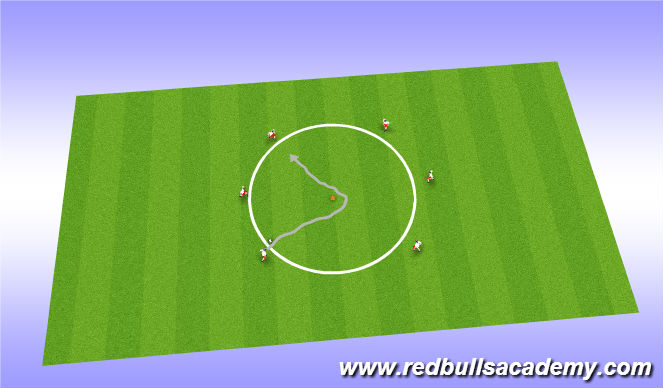 Football/Soccer Session Plan Drill (Colour): warm up turning circle