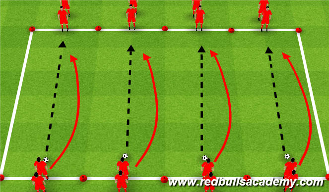 Football/Soccer Session Plan Drill (Colour): With the Ball