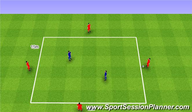 Football/Soccer Session Plan Drill (Colour): Rondo 4v2. Dziadek 4v2.