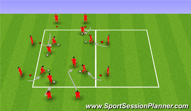 Football/Soccer Session Plan Drill (Colour): Chaos dribbling