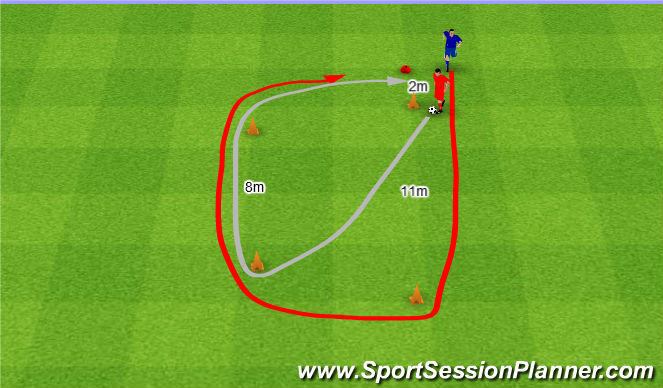 Football/Soccer Session Plan Drill (Colour): Pościg.