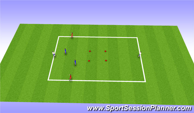 Football/Soccer Session Plan Drill (Colour): 2v2+2 with center goal