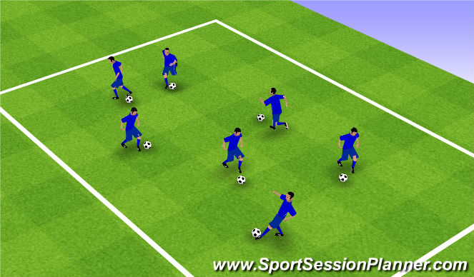 Football/Soccer Session Plan Drill (Colour): Warm Up 1 - Dribbling