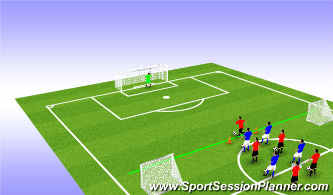 Football/Soccer Session Plan Drill (Colour): Combination Accumulative Play